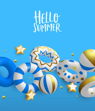 Hello Summer greeting card illustration. 3D life savers, stars and beach balls in luxury gold colors. Elegant pool party invitation or summertime season event concept. 일러스트