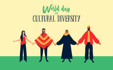 World Day for cultural diversity event illustration of diverse friend group. Includes arab woman with hijab, native american and black man.