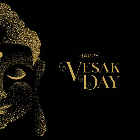 Happy Vesak Day illustration for hindu holiday celebration. Gold particle buddha face on black background. 向量圖像