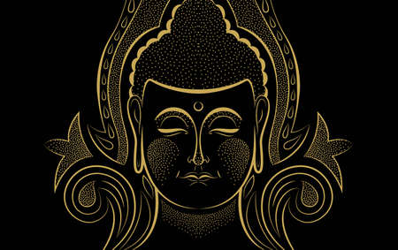 Buddha face in gold color on isolated black background. Traditional buddhist religion art for zen concept or asian culture event. Çizim