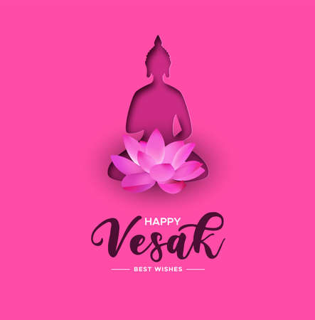 Happy Vesak Day illustration for hindu holiday celebration. Papercut buddha with lotus flower on pink color background.