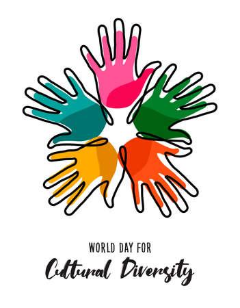 Tarjeta de ilustración del Día de la Diversidad Cultural de coloridas manos humanas unidas por la libertad social y la paz.