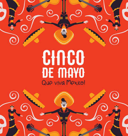 Cinco de Mayo illustration for Mexican independence celebration. Colorful cartoon background of traditional mexico culture decoration. Includes mariachi, big hat, guitar and skeleton skull. Ilustração