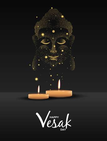 Happy Vesak Day illustration for hindu holiday celebration. Realistic candles on night background making buddha face.