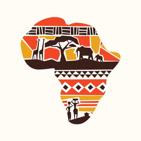Ilustración del concepto de mapa africano con animales salvajes de safari y tribus africanas sobre fondo aislado. Ilustración de vector