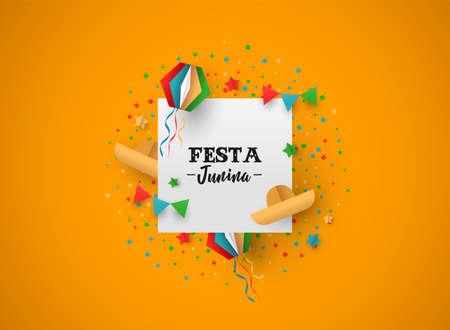 Illustrazione felice di festa di Festa Junina. Decorazione variopinta di carnevale del Brasile nello stile del mestiere di carta con il segno festivo del testo. Vettoriali