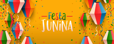 Happy Festa Junina web banner illustration. Traditional brazil party decoration of colorful paper balloons.