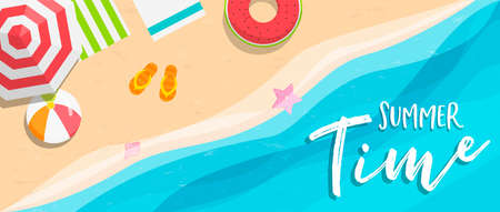 Summer season web banner illustration. Tropical beach coast top view with sun umbrellas and ocean waves.