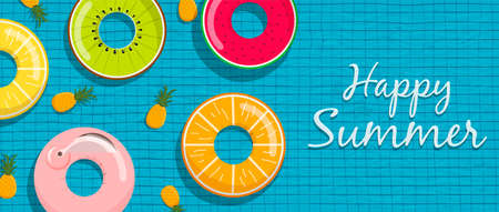 Happy Summer web banner illustration of fun life savers and pineapple fruits floating on pool water background.