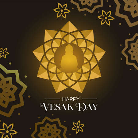 Happy Vesak Day illustration for hindu holiday celebration. Gold buddha lotus flower and floral decoration background. Illustration