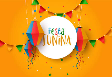 Festa Junina holiday illustration. Colorful paper balloon and flags for traditional brazil celebration in june.