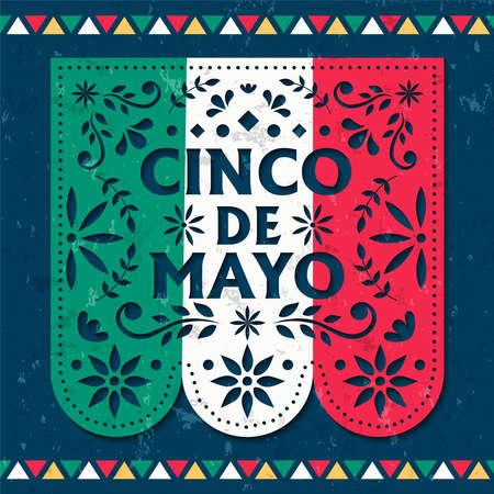 Bonne illustration de carte de voeux Cinco de Mayo de papel picado pour la célébration de l'indépendance du mexique. Drapeaux traditionnels en papier découpé avec décoration florale.