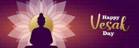 Happy Vesak Day banner illustration for hindu celebration holiday. Buddha statue silhouette on pink lotus flower. Illustration