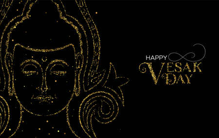 Happy Vesak Day illustration for buddhist celebration. Gold glitter buddha face with traditional hindu decoration.