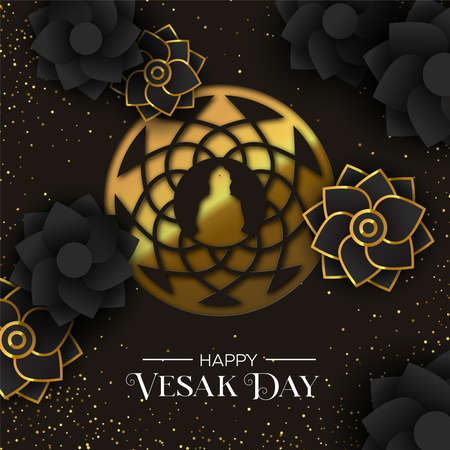Happy Vesak Day illustration for hindu holiday celebration. Gold paper cut buddha mandala with 3d flowers and golden glitter.