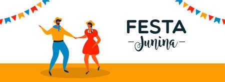 Festa Junina banner illustration for brazilian holiday celebration. Happy couple doing traditional june dance.