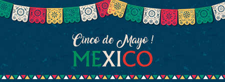 Happy Cinco de Mayo web banner illustration for mexico independence celebration. Typography quote with traditional papercut flag decoration. Vectores