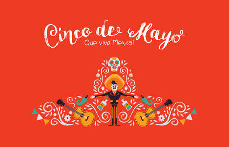 Cinco de Mayo illustration for Mexican independence celebration. Traditional hat shape made of mexico culture decoration. Includes mariachi, hot pepper, guitar and skeleton skull. Stock Illustratie