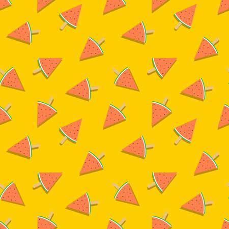 Summer season seamless pattern of exotic watermelon fruit ice cream dessert. Fun seasonal background for summertime.