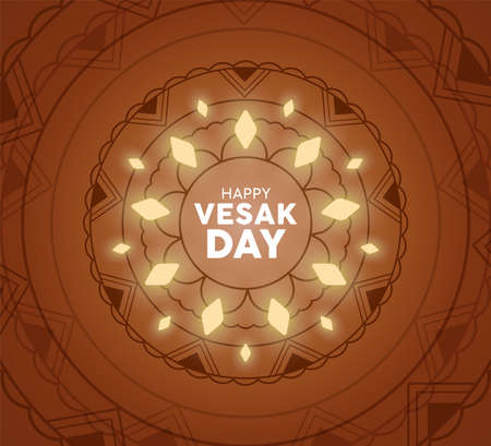 Happy Vesak Day greeting card illustration. Traditional mandala decoration with lights for hindu holiday.