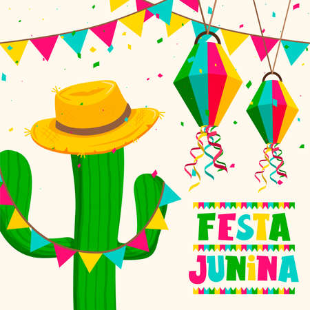 Happy Festa Junina greeting card illustration for traditional brazilian festival celebration. Colorful cactus and straw hat with text quote.