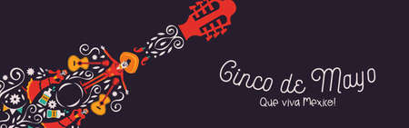 Happy Cinco de Mayo banner illustration for mexico independence celebration. Mexican guitar with traditional culture decoration. Includes mariachi man, skeleton woman and chili pepper.