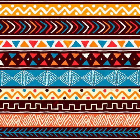 Nahtloses Muster der abstrakten afrikanischen Kunstart. Handgezeichneter Stammes-Dekorationshintergrund mit Boho-Doodle-Formen und ethnischen Symbolen.