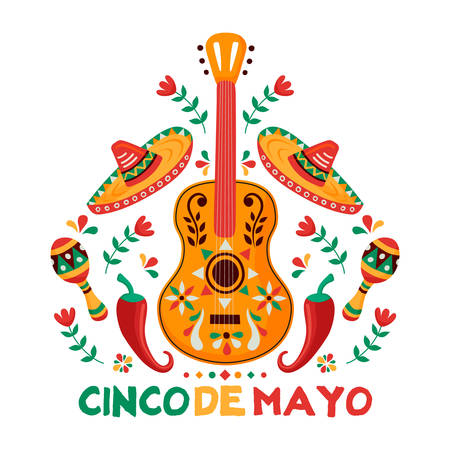 Cinco de Mayo greeting card for Mexican independence celebration. Traditional mariachi guitar and mexico culture decoration. Includes maracas, hat, chili peppers. Illustration