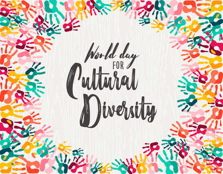 Cultural Diversity Day illustration of colorful human hand prints together for love and support.
