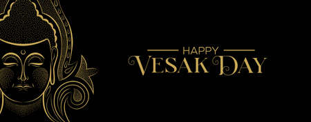 Happy Vesak Day web banner for buddhist celebration. Gold buddha face with traditional hindu decoration. Stock Illustratie
