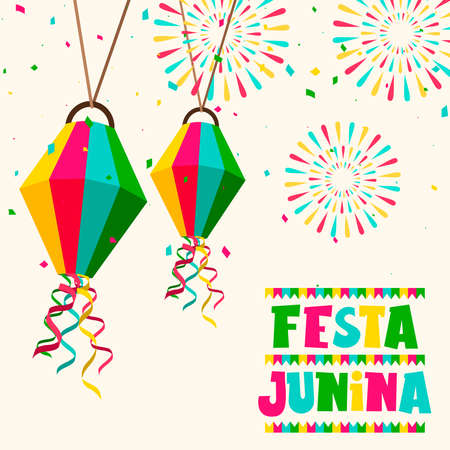 Happy Festa Junina greeting card illustration of colorful paper balloon and fireworks for brazilian celebration. Stock Illustratie