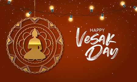 Happy Vesak Day illustration for hindu holiday celebration. Gold buddha ornament with realistic lights.