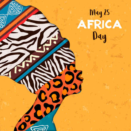Ilustración de la tarjeta de felicitación del día de África para la celebración del 25 de mayo. Cabeza de mujer africana con texturas de estampado animal étnico. Ilustración de vector