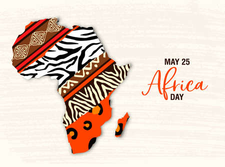 Africa Day greeting card illustration for 25 may celebration. African continent map with ethnic art and wild animal print textures.