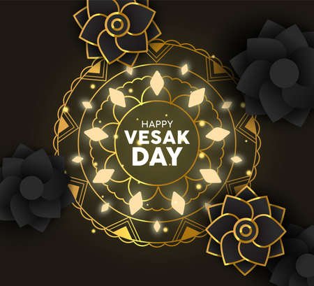 Happy Vesak Day greeting card illustration. Gold mandala decoration with lights and 3d paper flowers for hindu holiday. Stock Illustratie