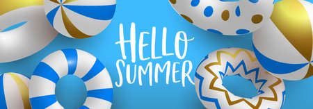 Hello Summer web banner illustration. 3D life savers and beach balls in luxury gold blue colors. Elegant pool party invitation or summertime season event concept.