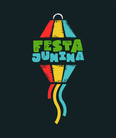 Festa Junina typography illustration for traditional brazilian festival. Colorful paper balloon with text quote.