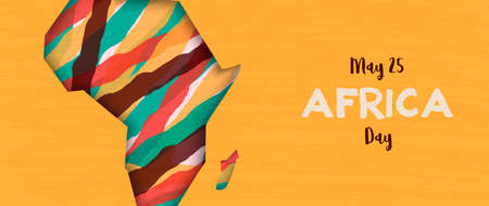 Africa Day banner illustration for 25 may celebration. African continent papercut map with colorful abstract art. Illustration