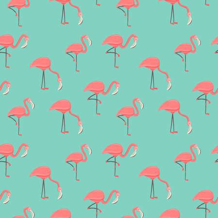 Pink flamingo bird seamless pattern. Exotic animal background for summer season event or tropical theme. Illusztráció