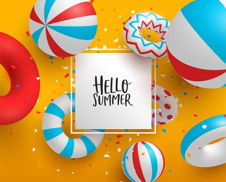 Hola plantilla de signo de tarjeta de felicitación de verano. Decoración colorida de fiesta en la piscina en 3d con etiqueta de papel para mensaje de texto de verano personalizado.