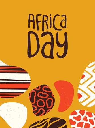 Happy Africa Day poster illustration with traditional tribal hand drawn art for african freedom holiday.