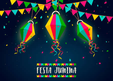 Happy Festa Junina greeting card illustration for traditional brazilian festival celebration. Colorful flags and paper balloon with text quote.