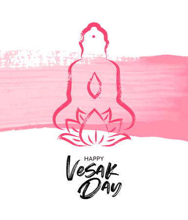 Happy Vesak Day illustration for traditional buddha birth celebration. Pink hand drawn statue with lotus flower on watercolor brush background. Illustration