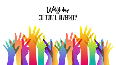 Cultural Diversity Day illustration card of diverse human hands united for social freedom and peace.