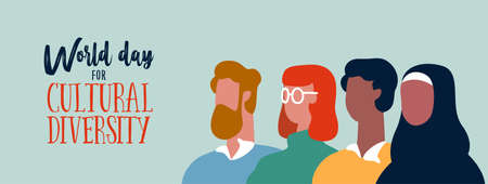 World Day for cultural diversity event web banner of diverse people group. Social help and support concept. Illustration