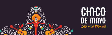 Happy Cinco de Mayo web banner illustration for mexico independence celebration. Big mexican hat with traditional culture decoration. Includes mariachi man, sugar skull and guitar.
