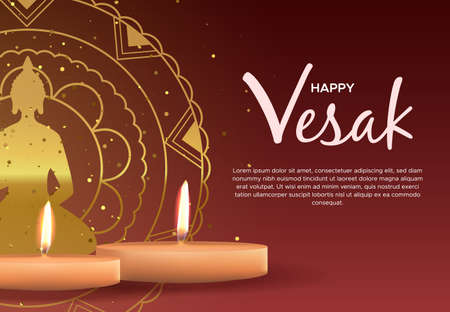 Happy Vesak Day greeting card template for hindu holiday celebration. Realistic candles on red background with gold buddha statue mandala.
