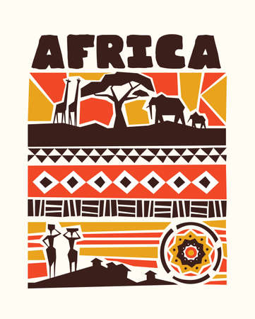 Africa concept illustration with traditional african style art decoration. Includes wild safari animals, tribe women and ethnic shapes.