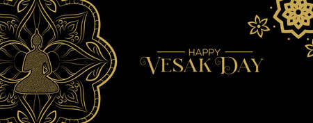 Happy Vesak Day web banner for traditional hindu celebration. Gold statue with lotus flower decoration.
