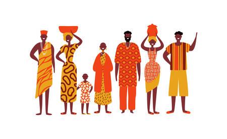 Pueblo africano sobre fondo blanco aislado. Grupo diverso de hombres y mujeres negros en ropa étnica tradicional para el concepto de sociedad africana. Ilustración de vector